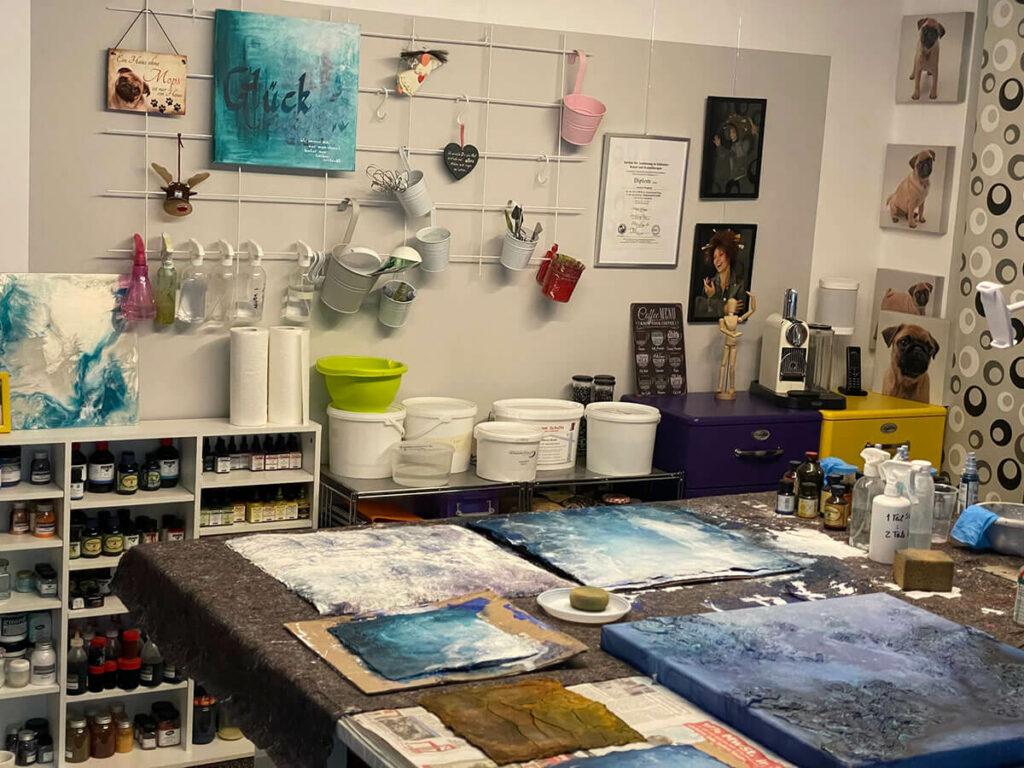Ein Blick ins Atelier von Andrea Penndorf Egelsbach