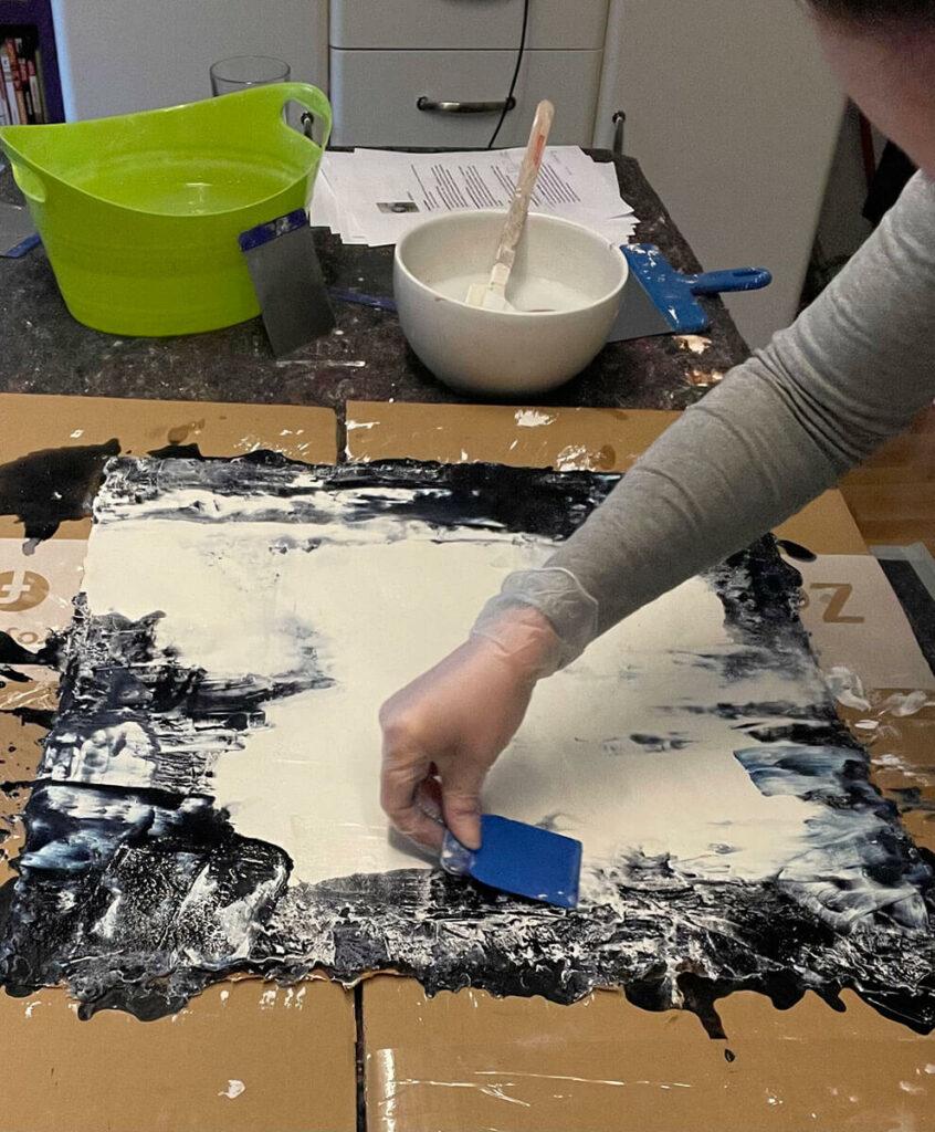 Ein Werk entsteht im Atelier Artgalerie Andrea